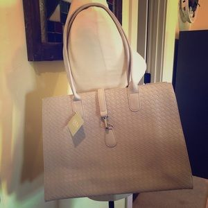 Light gray vinyl tote